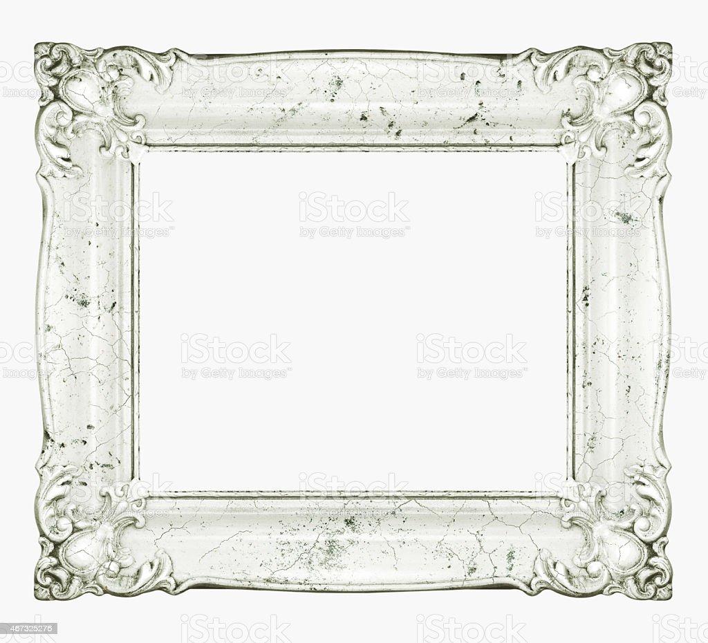 White marble baroque frame. Horizontal white stone crackle texture frame. stock photo