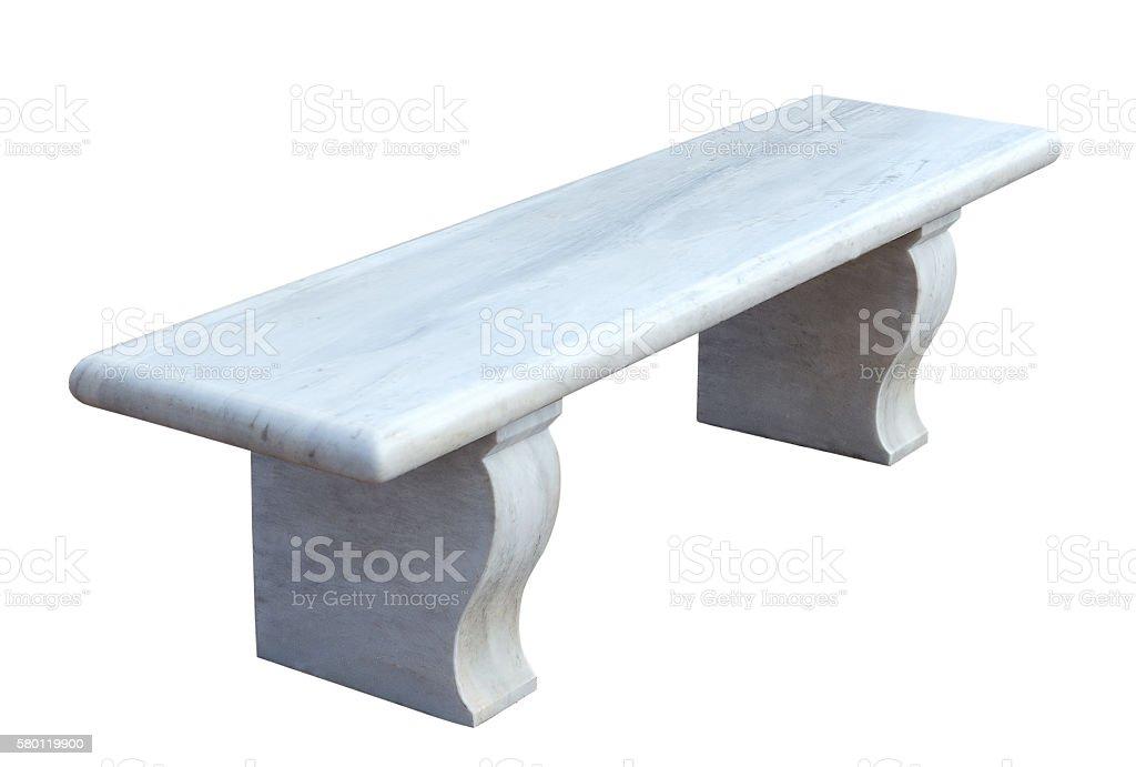 white marble bench stock photo