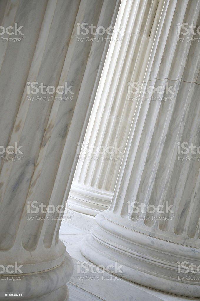 White Marble Column Colonnade Vertical Close-Up Supreme Court Washington stock photo