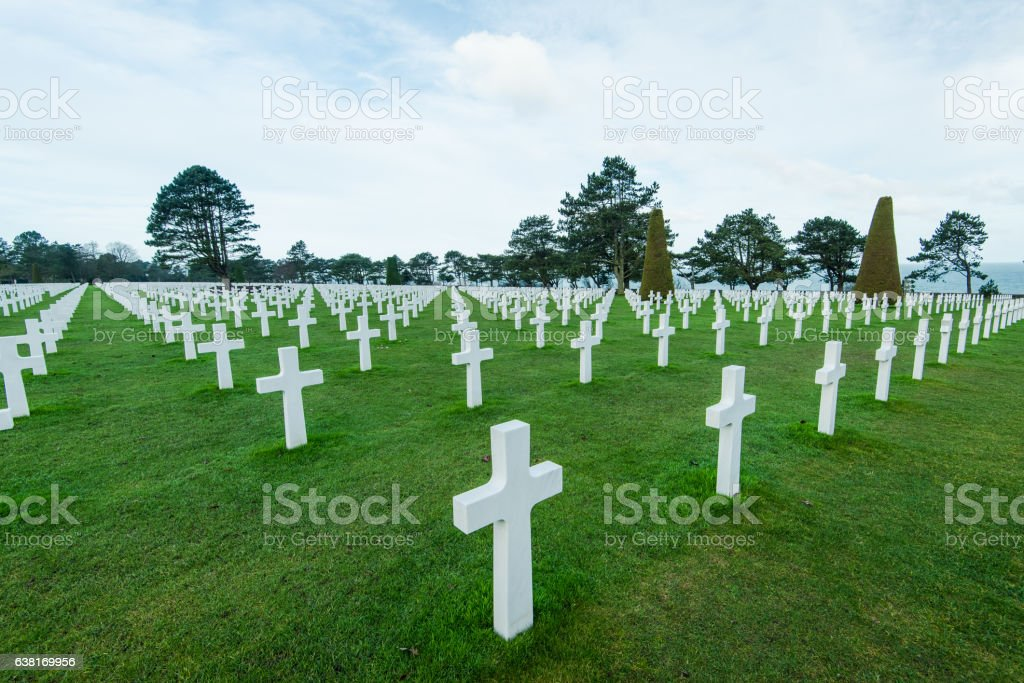 White marble cross on American Cemetery in Normandy stock photo
