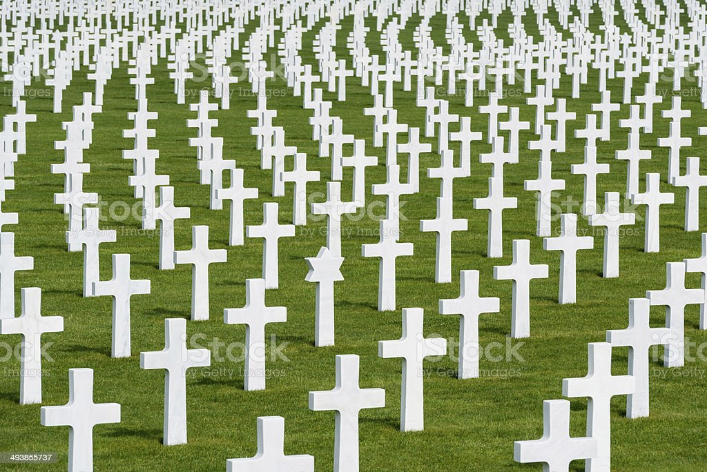 White marble crosses on an American military cimetery stock photo