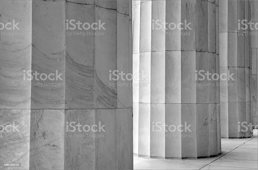 White marble fluted columns closeup stock photo