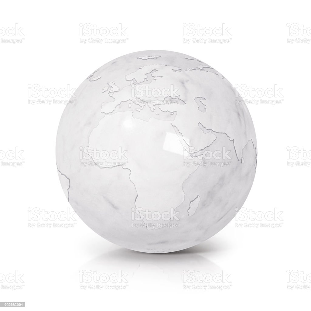 White Marble globe 3D illustration europe and africa map stock photo