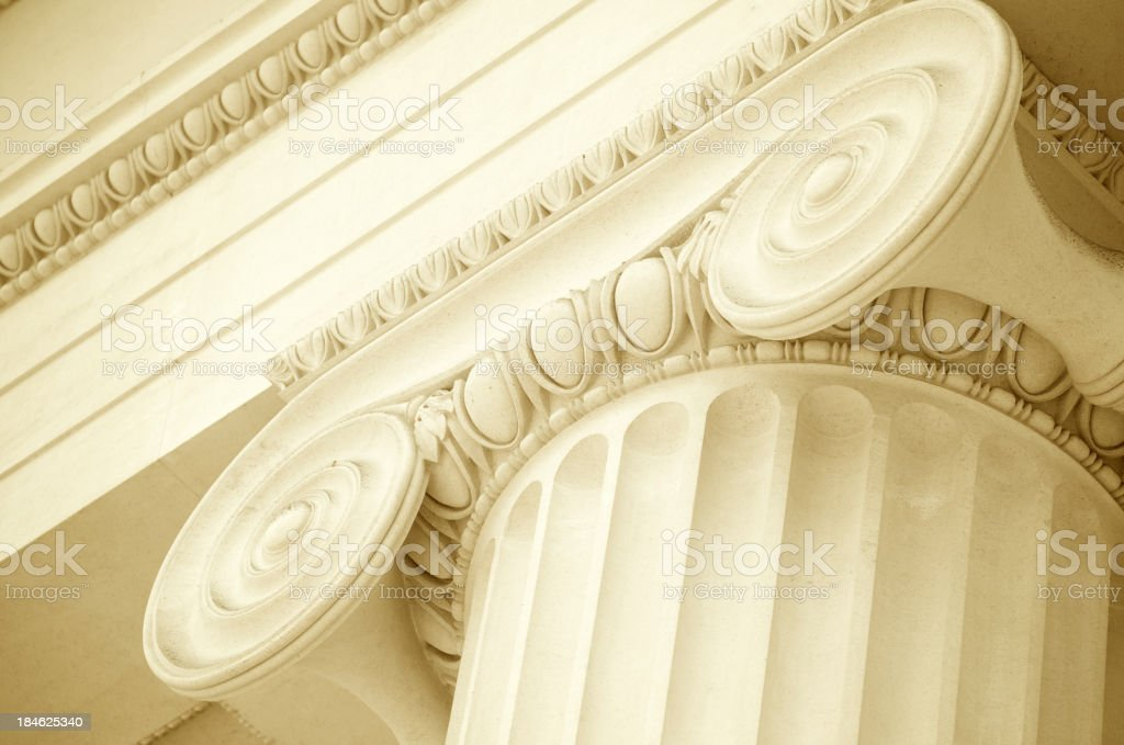White Marble Ionic Column Scroll Pediment Close-Up stock photo
