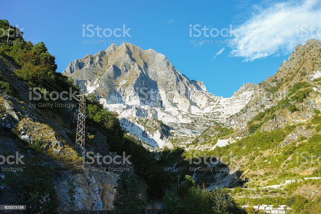 White marble quarries of Carrara in the Apuan alps Massa stock photo