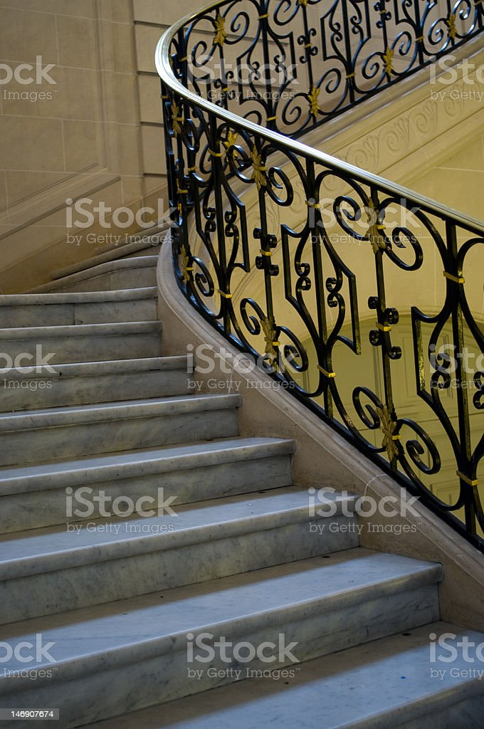 White Marble Staircase, France stock photo