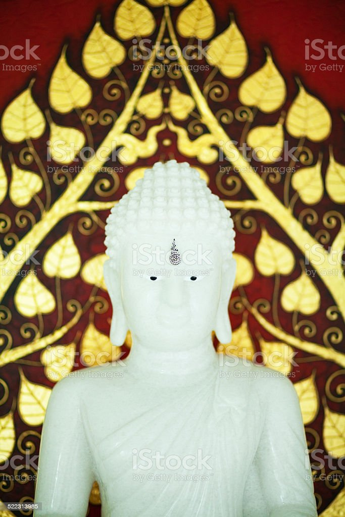 White marble Thai buddha stock photo