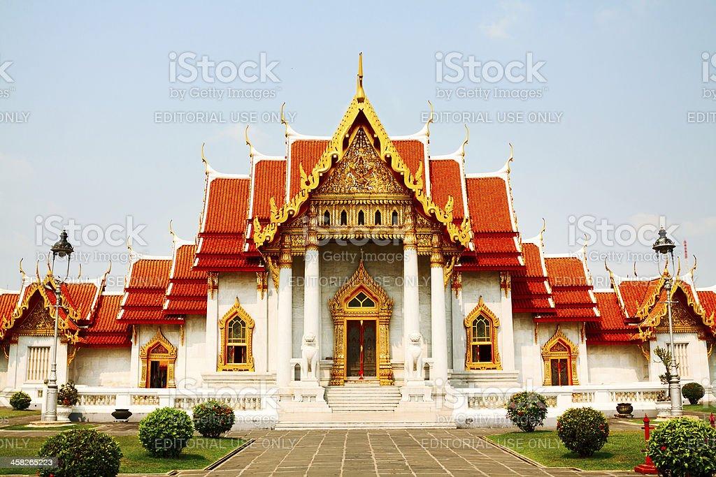 White marble Wat Benchamabophit stock photo