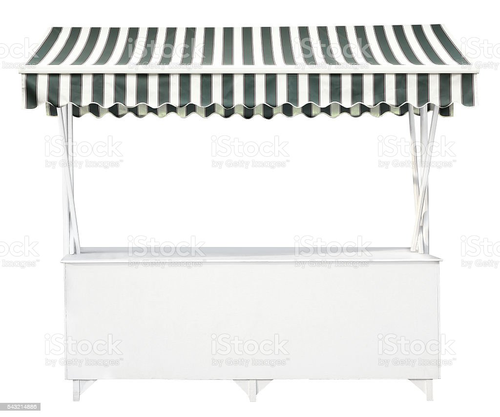 White market stall with striped awning stock photo
