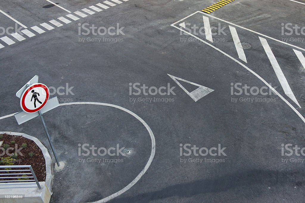 White markings on road royalty-free stock photo