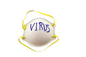 White mask   and word VIRUS in mask on white  background