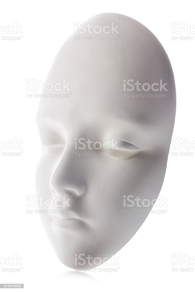 White mask close-up isolated on white background. stock photo