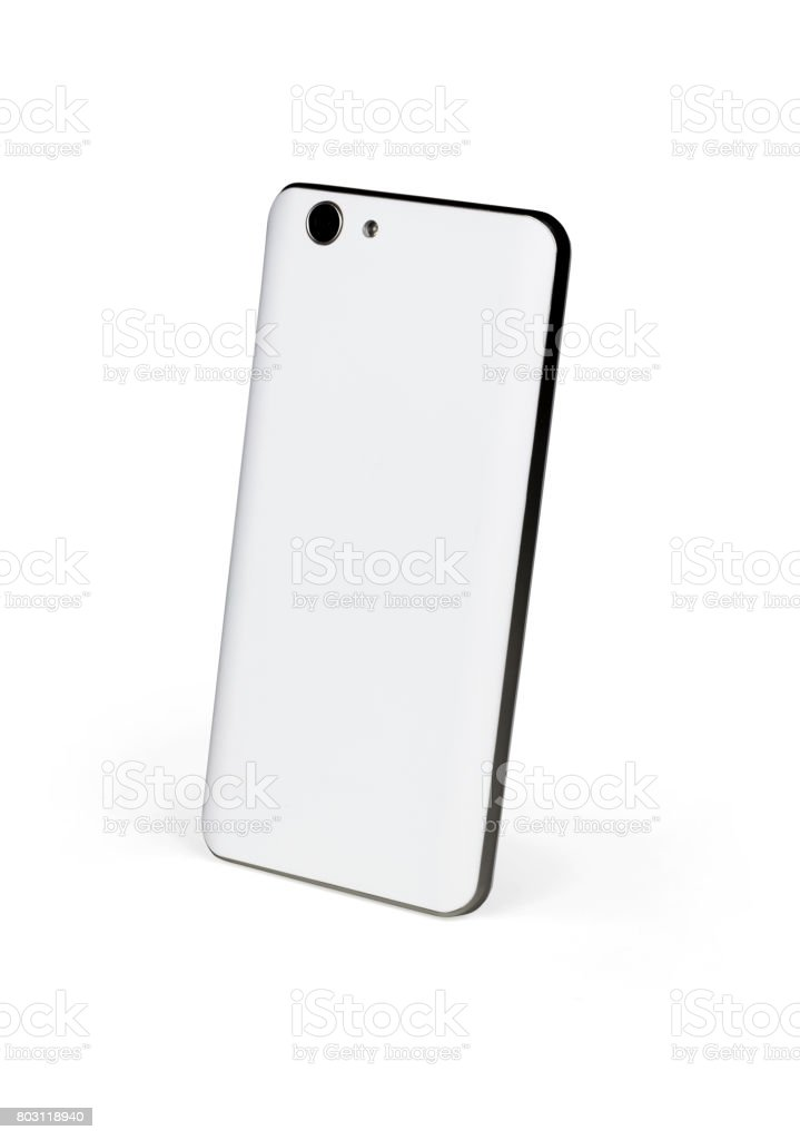 White mat mobile smart phone with dark metal frame standing on white background viewed from back side. Isolated with clipping path stock photo