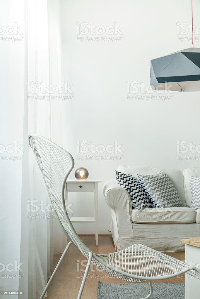 White matal chair stock photo