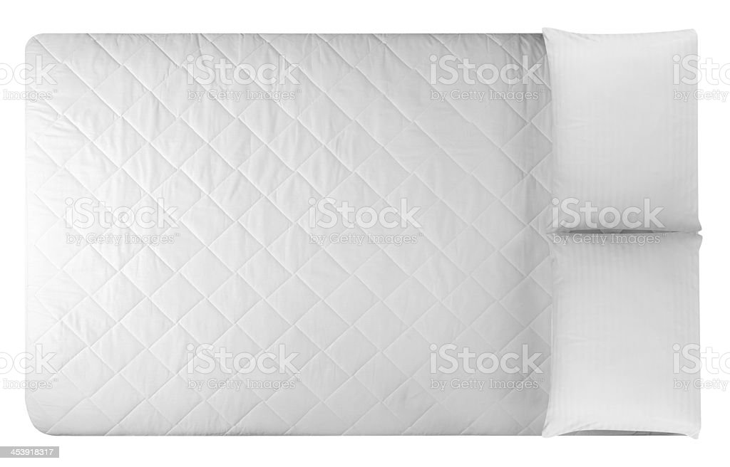 White mattress and two pillows stock photo