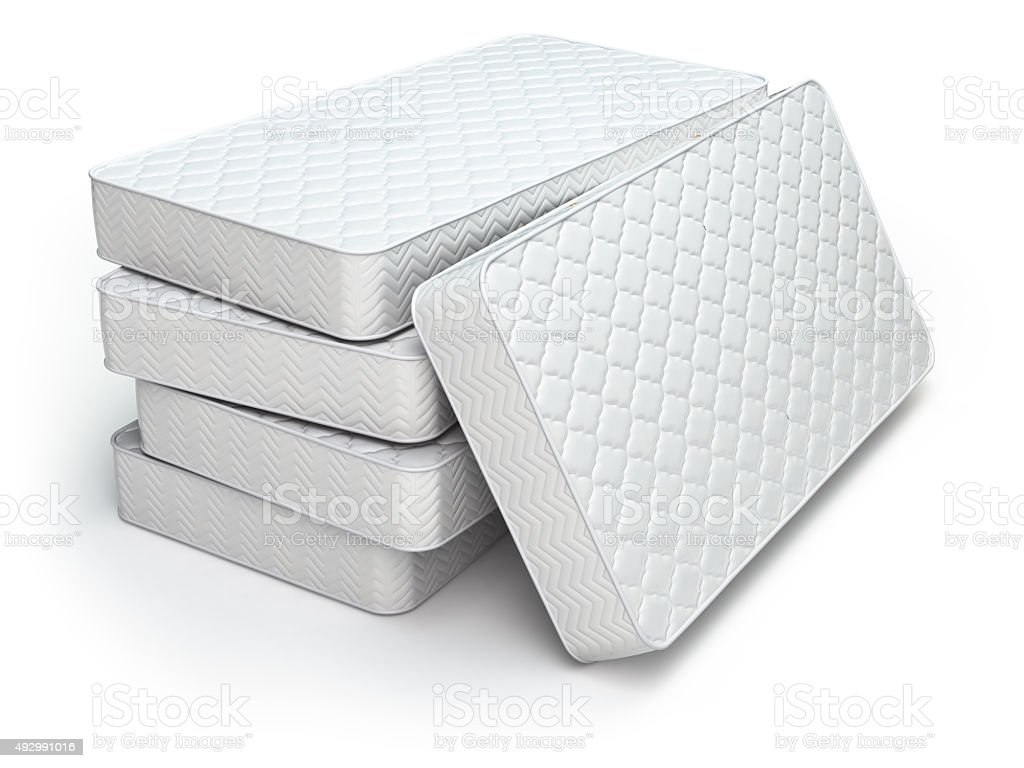 White mattress isolated stock photo