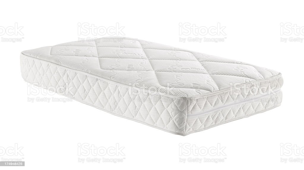 A white mattress with no bedding stock photo