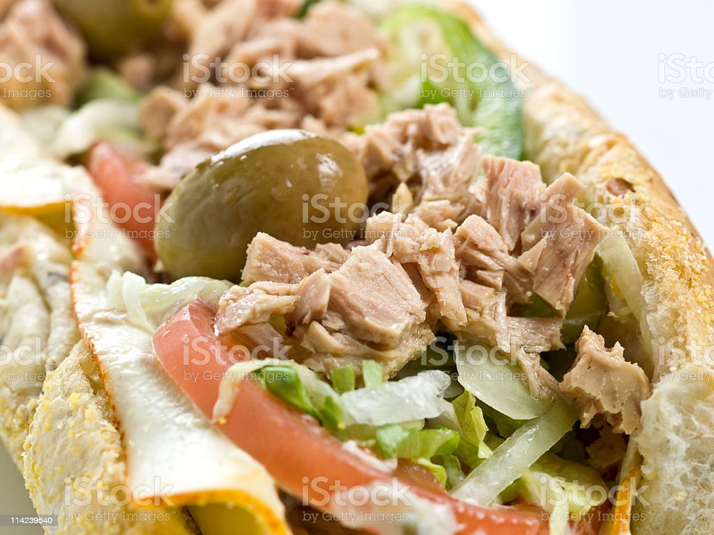White meat tuna submarine sandwich close up royalty-free stock photo