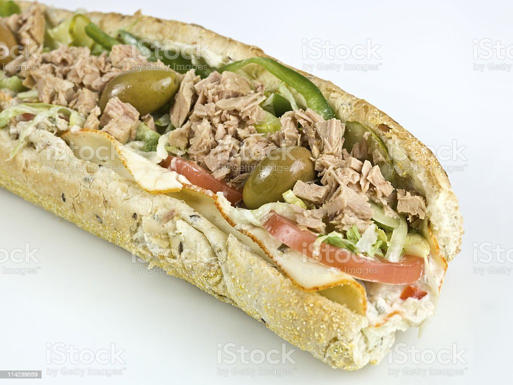 White meat tuna submarine sandwich royalty-free stock photo