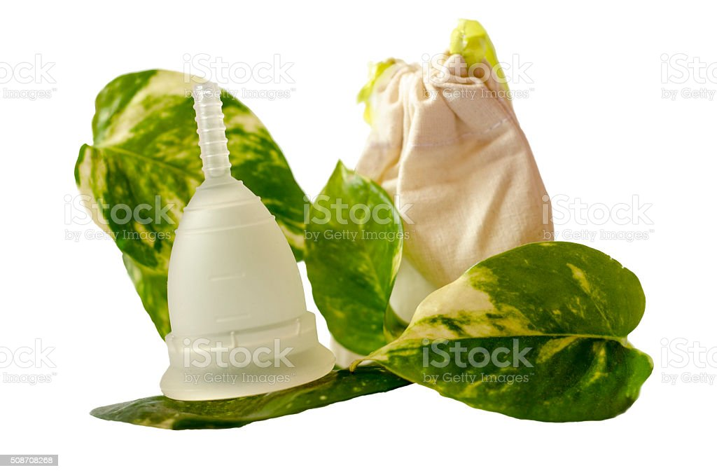 White menstrual cup,  green leaves,  little beige bag isolated stock photo