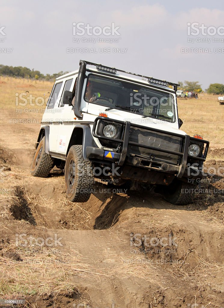 White Mercedes-Benz G-Class on 4x4 Course stock photo