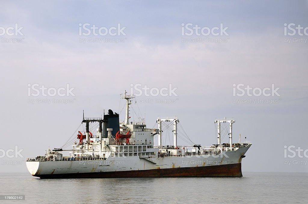 White merchant ship royalty-free stock photo