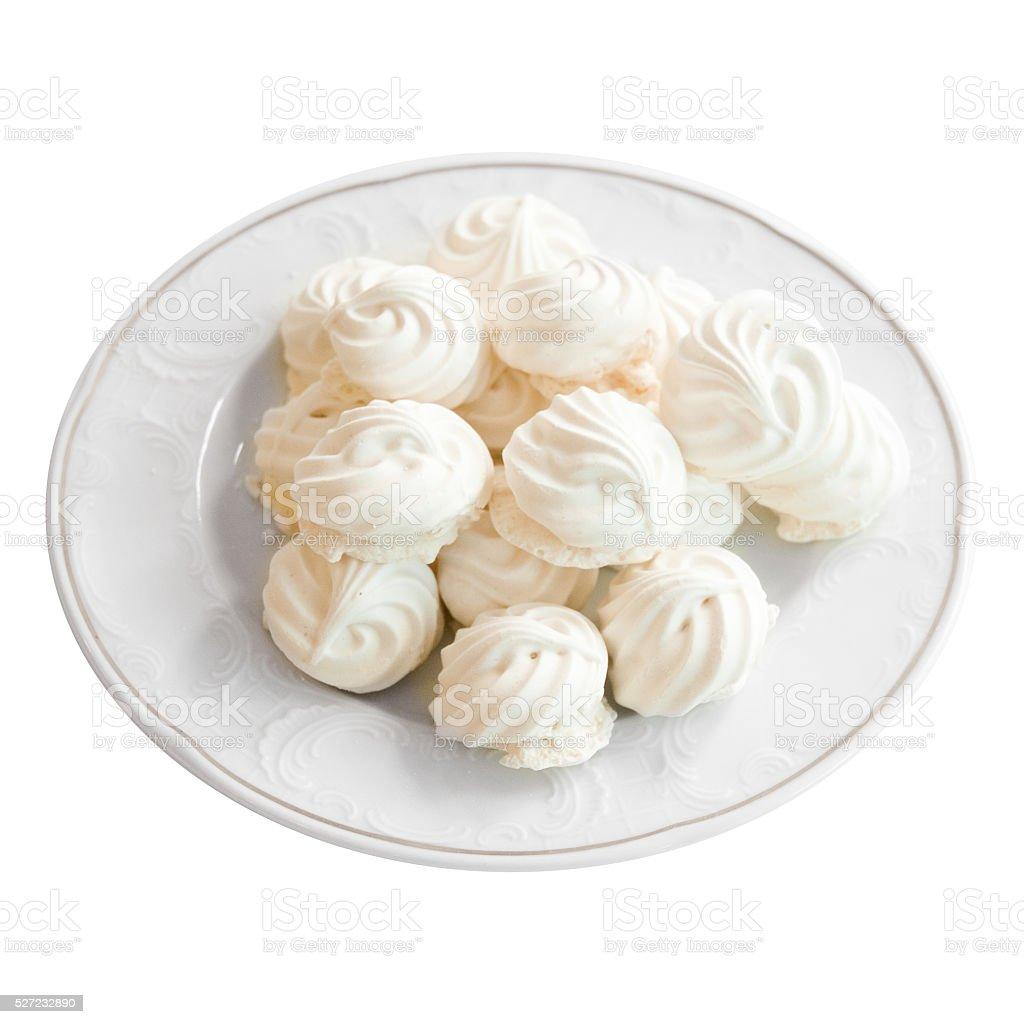 White meringue cake on white background stock photo