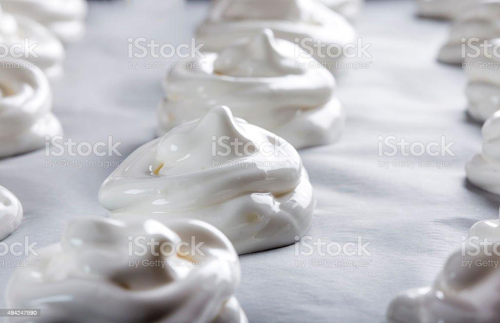White meringues stock photo