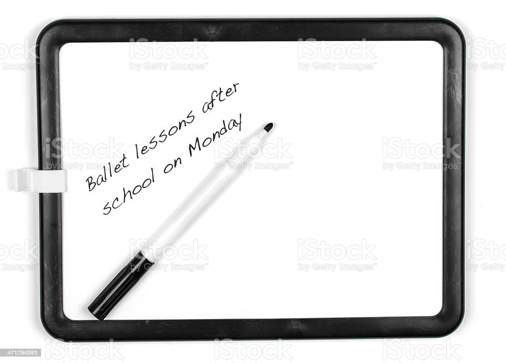 White message board and marker pen stock photo