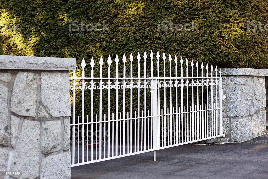 White Metal Gate stock photo