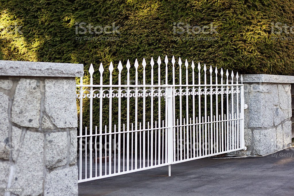 White Metal Gate stock photo