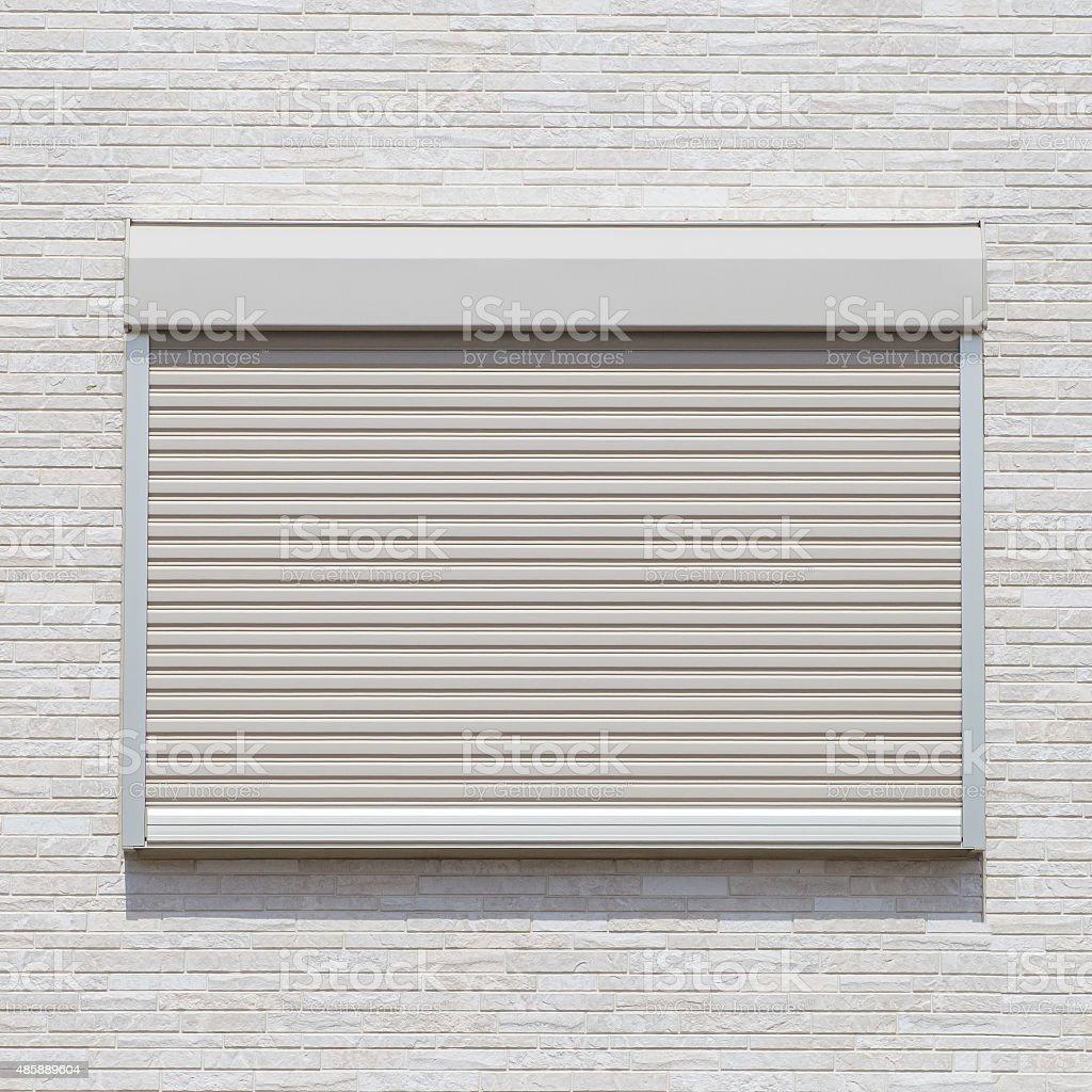 White metal roller door shutter stock photo