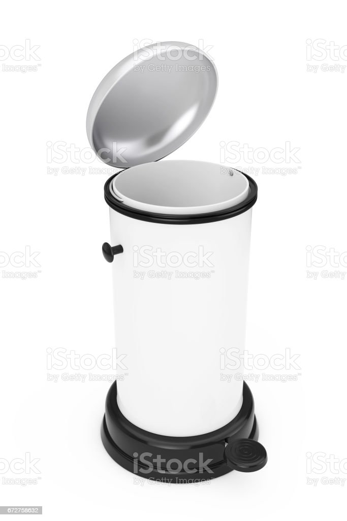 White Metal Trash Can with Pedal. 3d Rendering stock photo
