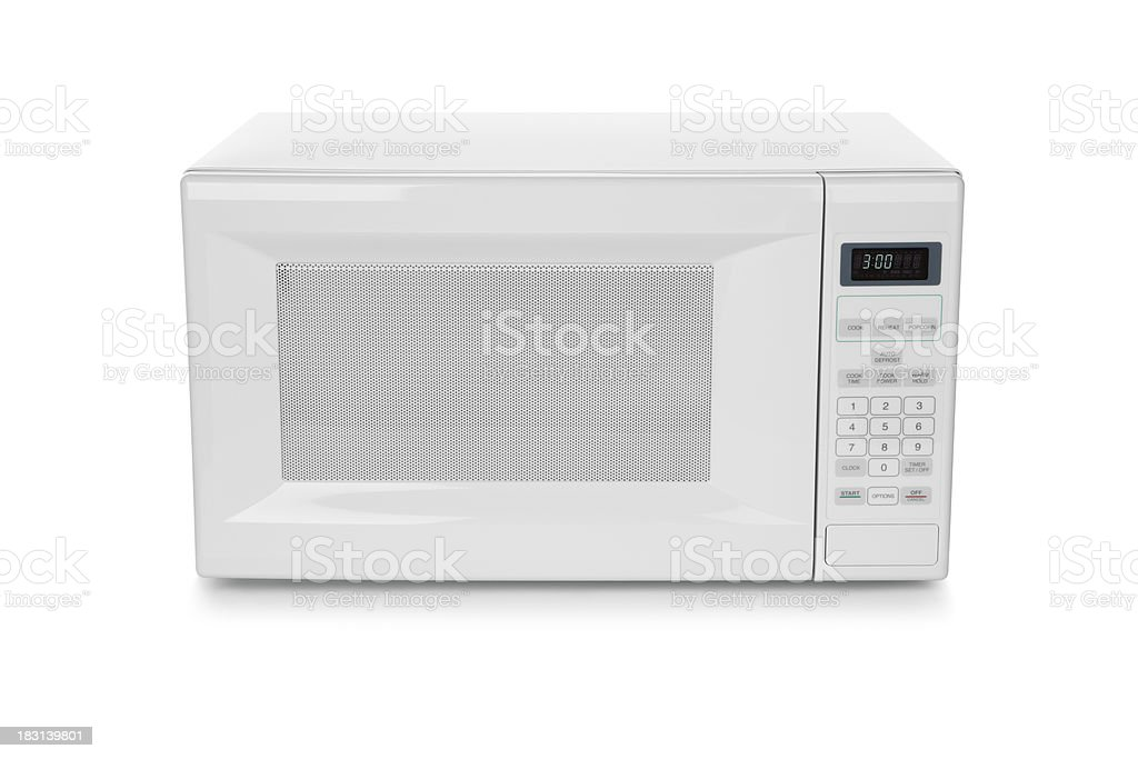 White microwave oven on white background stock photo