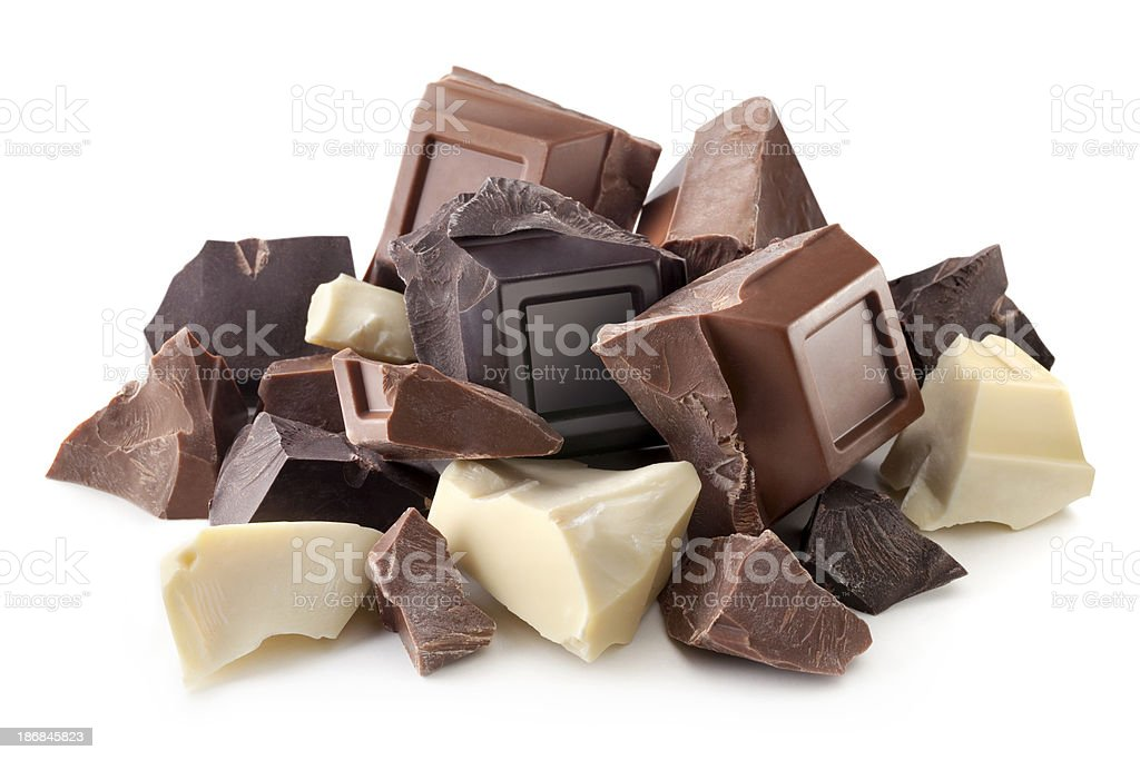 White, milk and dark chocolate stock photo