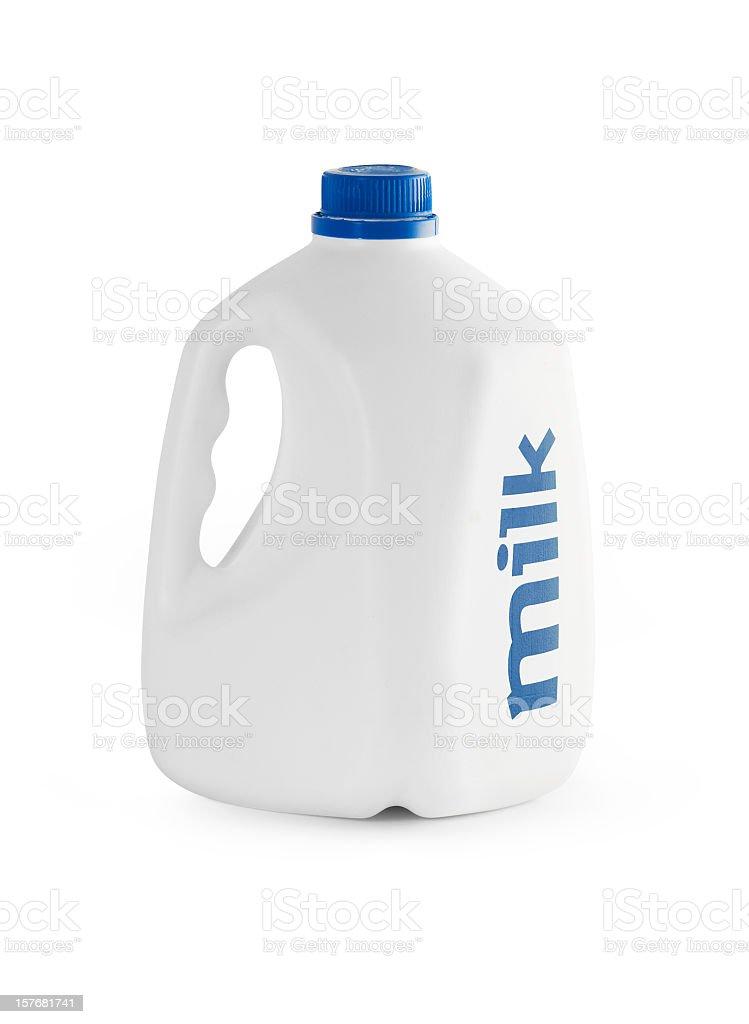 White milk carton with blue writing stock photo