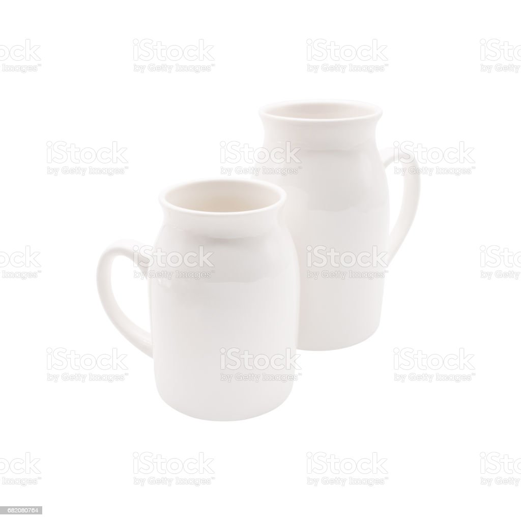 White milk cup on isolated background with clipping path. stock photo