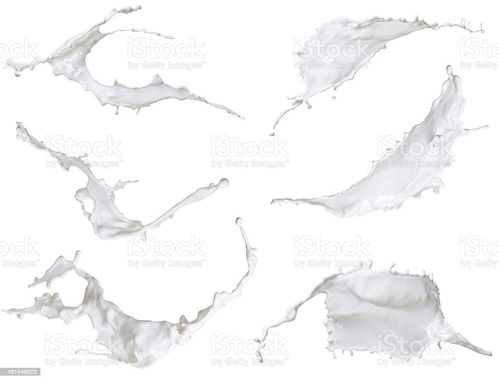 white milk, mixed splash isolated on white background stock photo