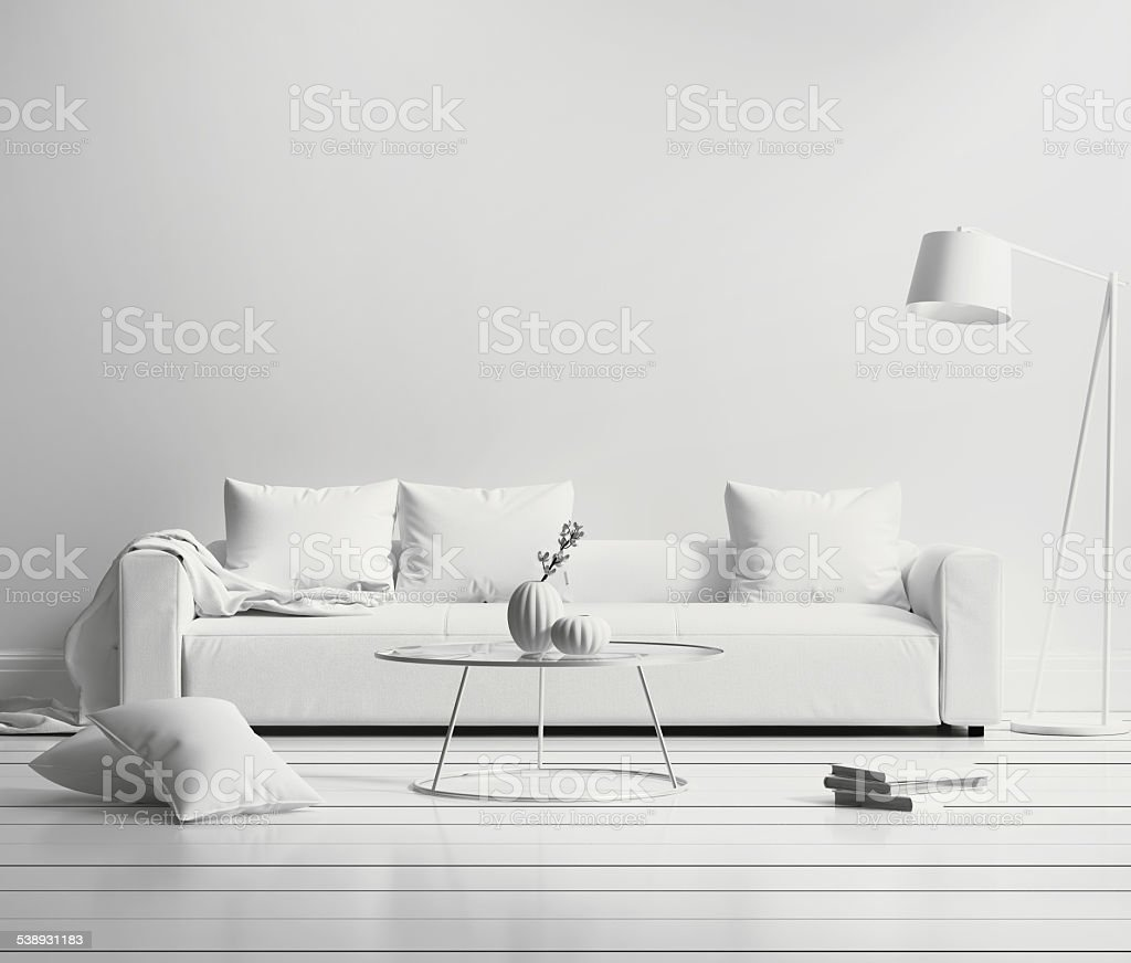 White minimal contemporary interior stock photo