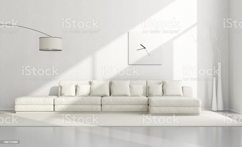 White minimalist living room stock photo