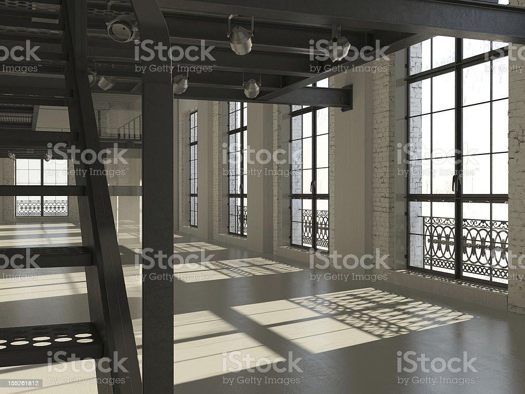 White minimalist loft interior stock photo