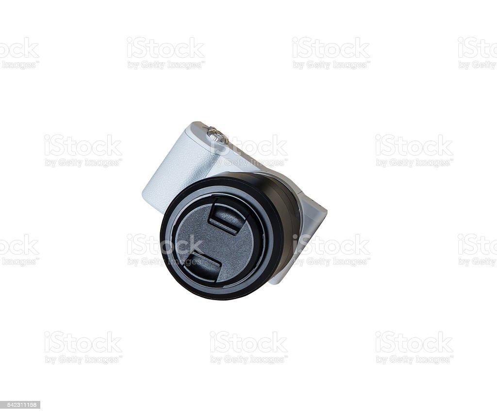 White Mirrorless Camera isolated on white. stock photo
