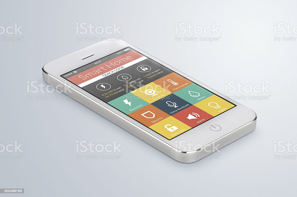White mobile smartphone with smart home application stock photo
