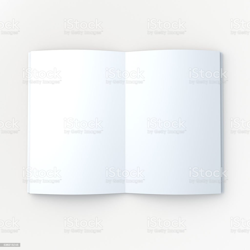 White mock up book or magazine, brochure open page stock photo