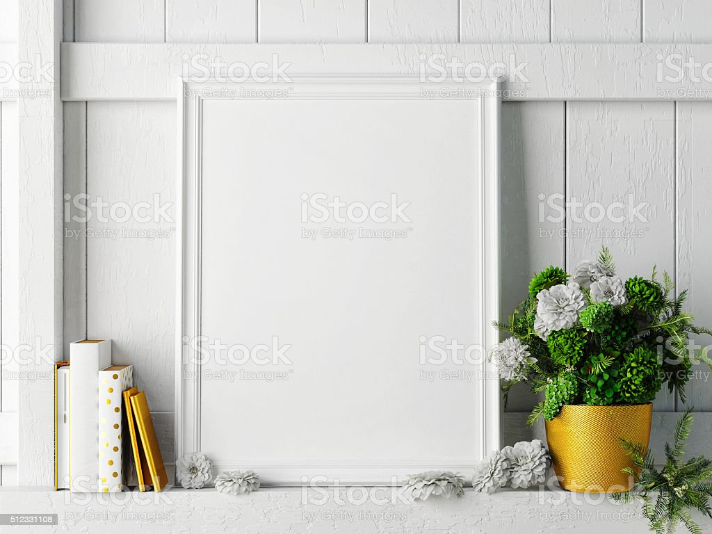white mock up frame, hipster background, stock photo