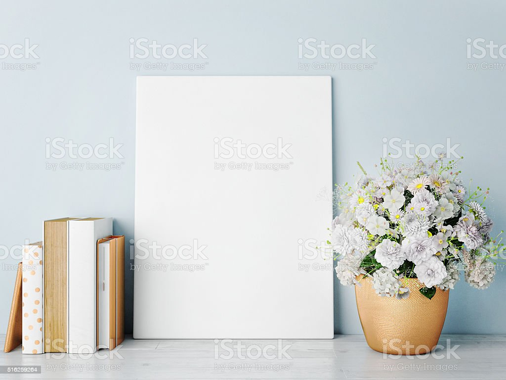 white mock up frame, rose gold-hipster background stock photo