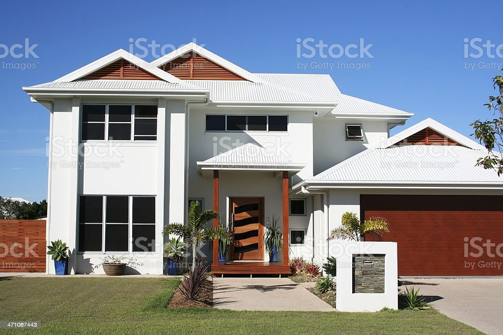 A white modern family home with a simple garden stock photo