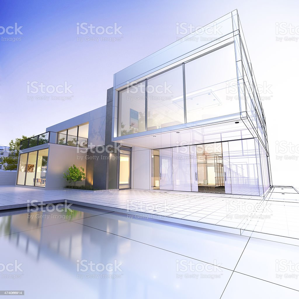 White modern house with pool in yard stock photo