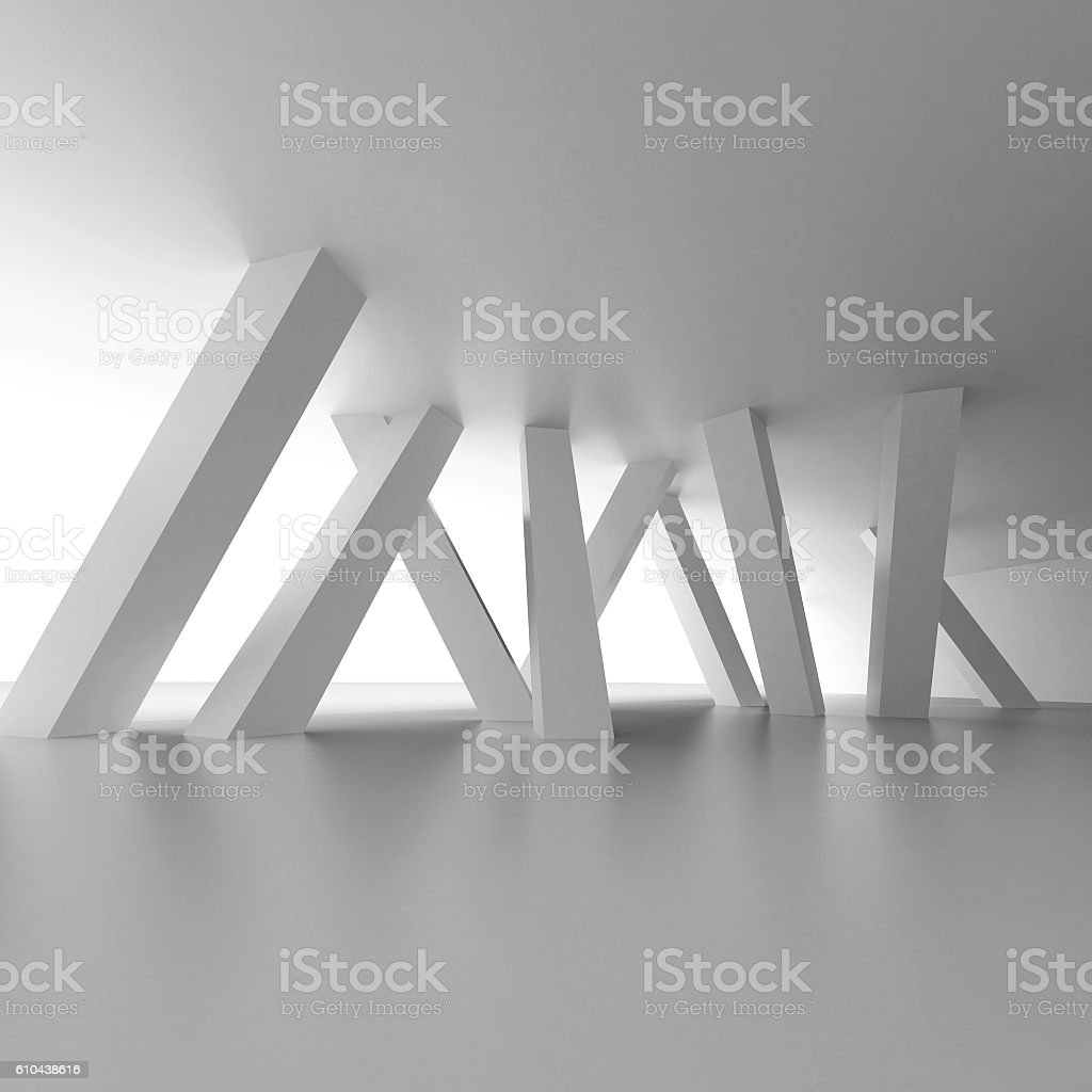 Modern Columns white modern interior with inclined columns stock photo 610438616