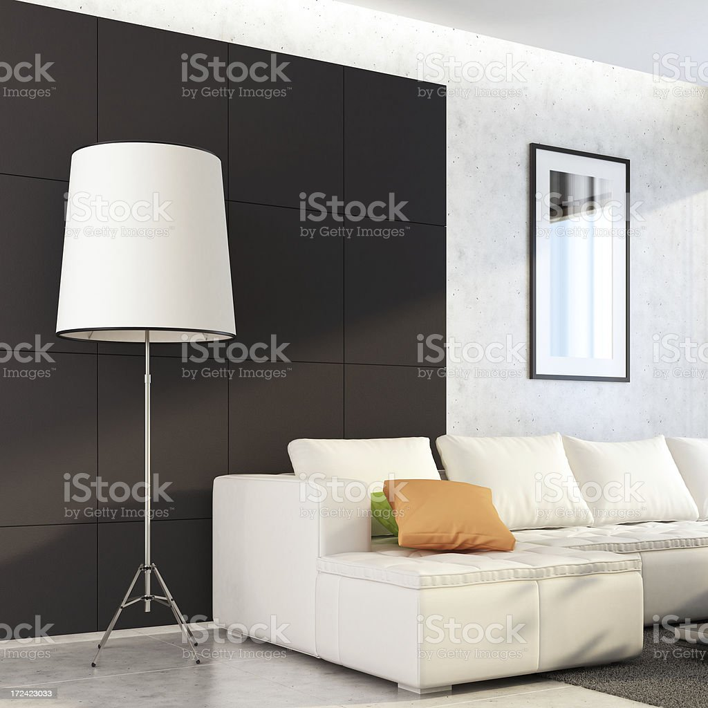 White Modern Living Room royalty-free stock photo